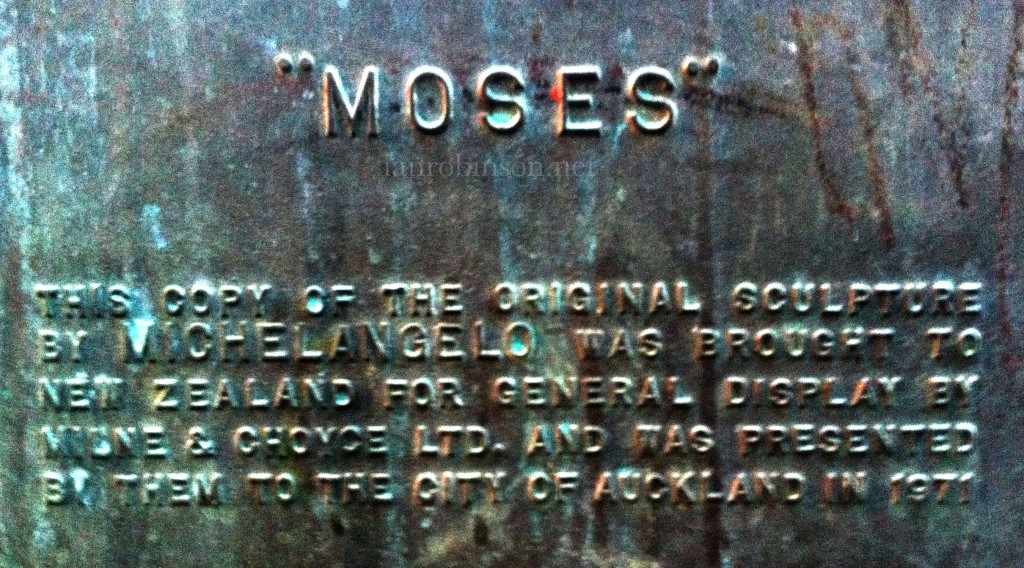 Myers Park Auckland Moses Plaque