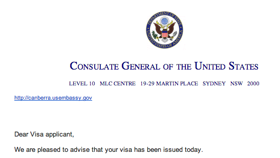 Australian US Embassy Approves Partner Visa
