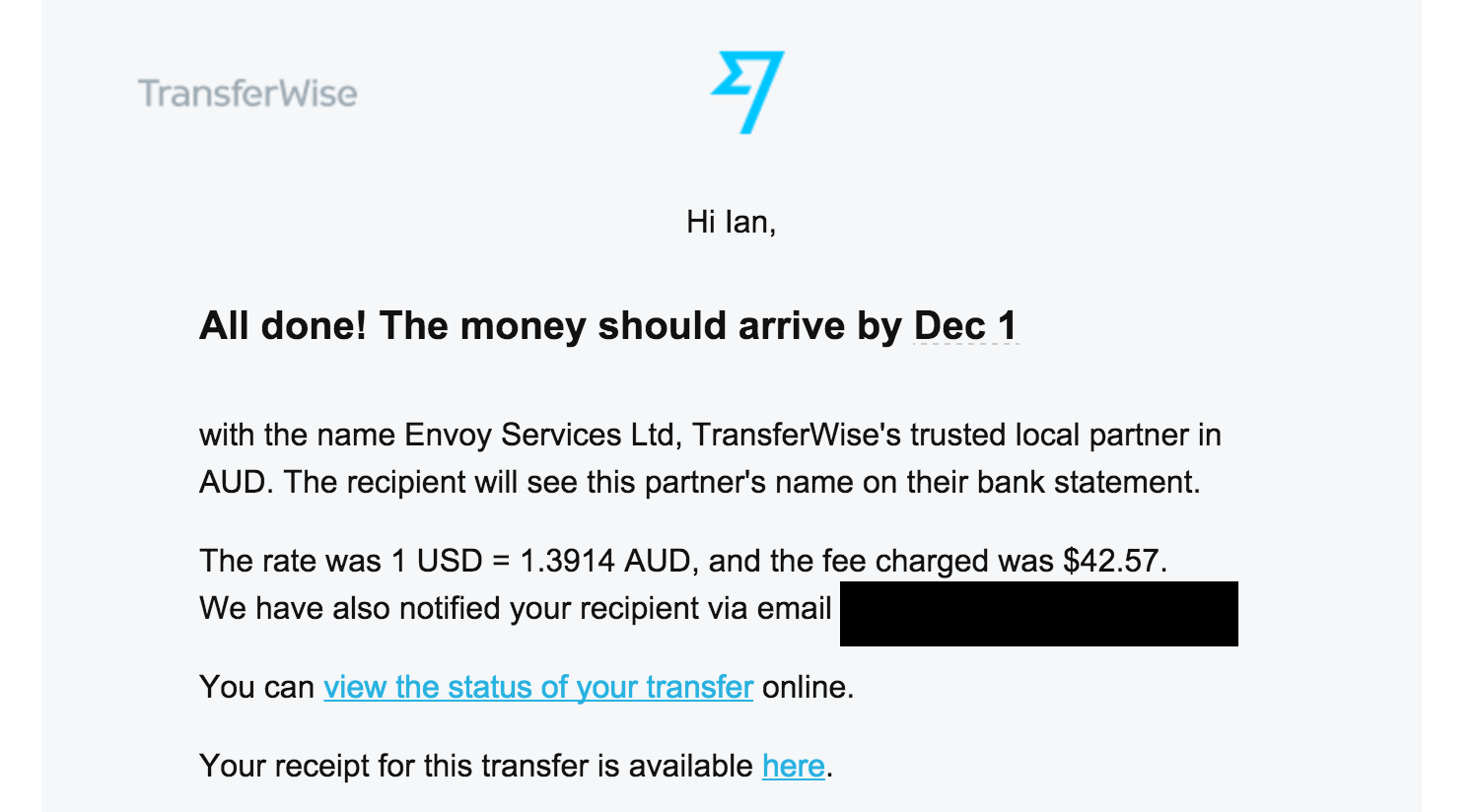 TransferWise Review - Final Receipt