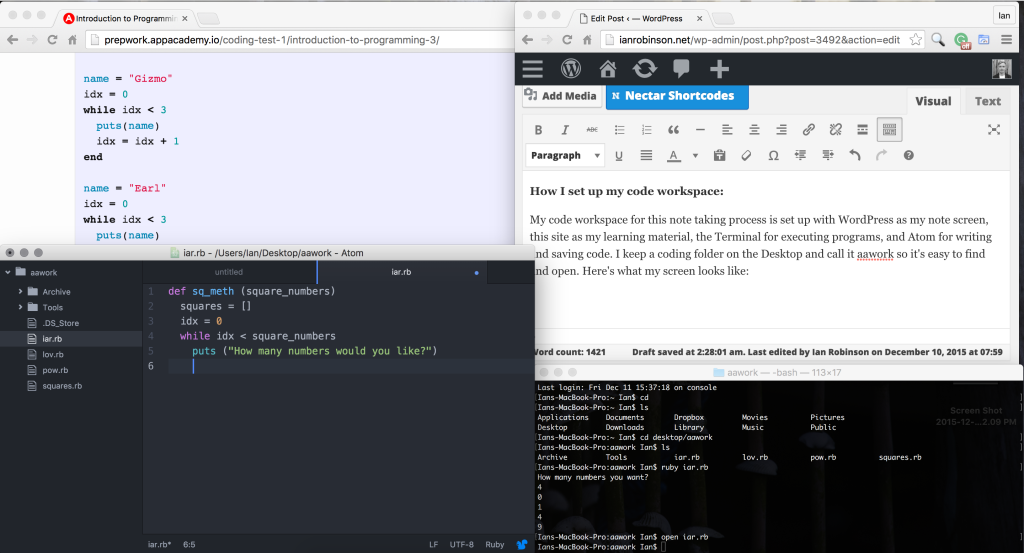 Desktop Layout for Learning Ruby Code and Notetaking on WordPress