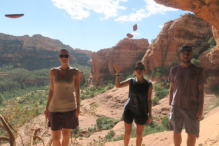 Girls levitate rocks in Sedona AZ