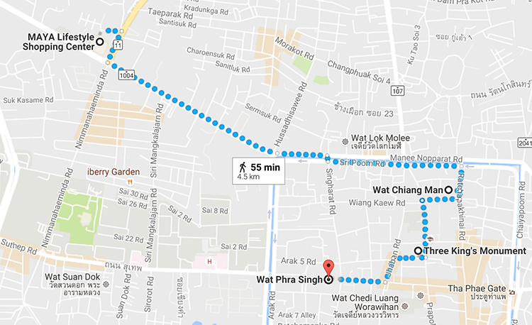 Songkran Chiang Mai 2016 - Walking Map