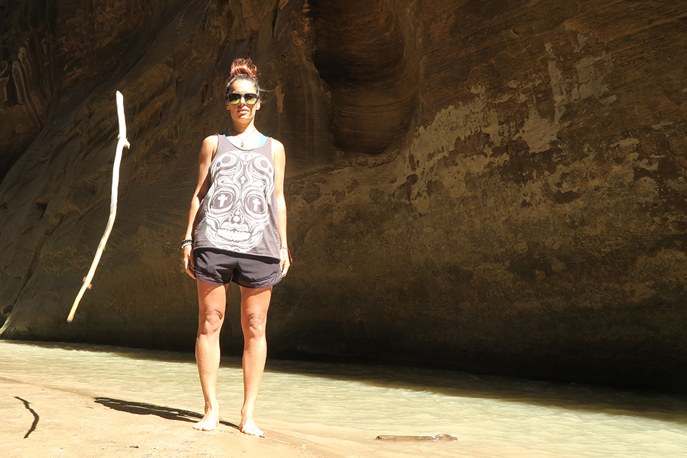 Tossing a stick in the narrows - Zion National Park