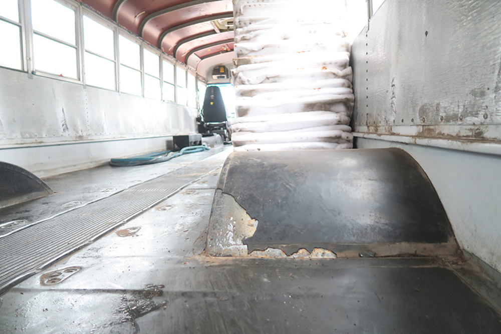 school bus tiny home conversion floor removal1